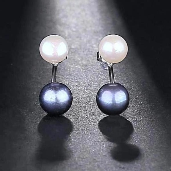 Freshwater Double Pearl Earrings Black - pearlsnlucent.com
