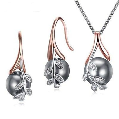 Rose Gold Grey Pearl Pendant & Earrings Set - pearlsnlucent.com