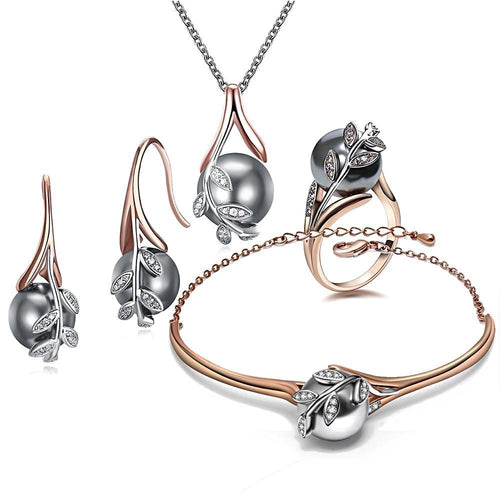 Rose Gold Grey Pearl Set - pearlsnlucent.com