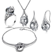 Load image into Gallery viewer, Rhodium Plated Grey Pearl Set - pearlsnlucent.com