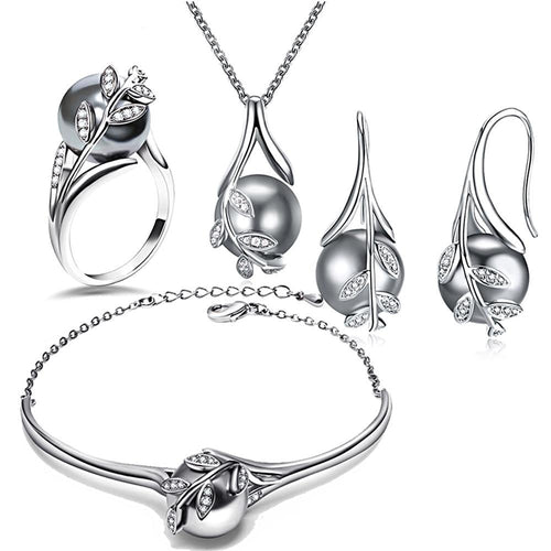 Rhodium Plated Grey Pearl Set - pearlsnlucent.com