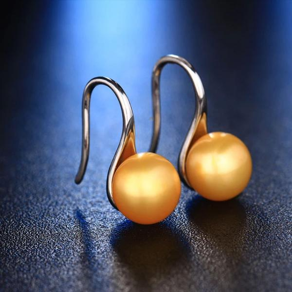 Freshwater Pearl Drop Earrings Golden - pearlsnlucent.com