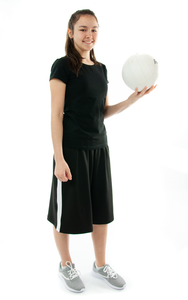 The Athletic Running Culotte is great for all team sports. It is made with performance sport fabric that keeps you dry and comfortable. You will really like the straight cut leg with enough fullness for modesty. It has an elastic waist and sporty stripes down the side seams (optional white stripes).