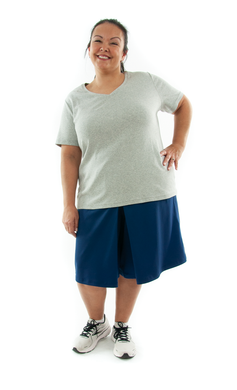 Athletic Two Pleater Culottes for Womens Plus Sizes by Dressing For His Glory  Don't Sweat it! Our Athletic Two Pleater Culotte is perfect for all team sport activities. It is made with performance sports fabric that keeps you dry and comfortable. It has a straight cut with a smooth elastic waist and an optional zippered pocket. The soft pleat in the center front and back gives its name,