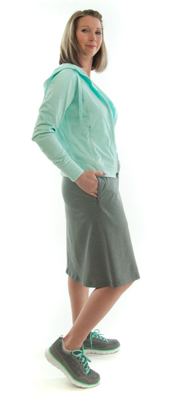 Athletic Exercise Skirt for Ladies Sizes by Dressing For His Glory is perfect for all team sports is with performance sport fabric that keeps you dry. Bike shorts are attached to the waistband of the skirt and has an optional zipper pocket. The Athletic Exercise Skirt has a smooth flat elastic waistband. Great for any sport activity!