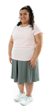 "Load image into Gallery viewer, Athletic Two Pleater Culottes for Womens Plus Sizes by Dressing For His Glory is perfect for all team sport activities. It is made with performance sports fabric that keeps you dry and comfortable. It has a straight cut with a smooth elastic waist and an optional zippered pocket. The soft pleat in the center front and back gives its name, ""Two Pleater""."