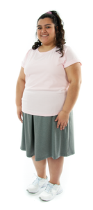"Athletic Two Pleater Culottes for Womens Plus Sizes by Dressing For His Glory is perfect for all team sport activities. It is made with performance sports fabric that keeps you dry and comfortable. It has a straight cut with a smooth elastic waist and an optional zippered pocket. The soft pleat in the center front and back gives its name, ""Two Pleater""."