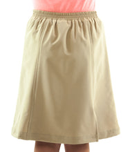 "Load image into Gallery viewer, Flare Skort for Girl Sizes by Dressing For His Glory The Flare Skort is a flare skirt with loose fitting shorts underneath that are attached at the waistband.  It has a flat front waist with an elastic waistband in the back. The skirt has one optional off centered slit in the front and one in the back.   The skirt and shorts are made in the same fabric with the shorts being 1"" shorter than the skirt."
