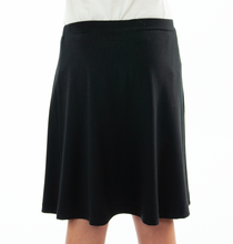 "Load image into Gallery viewer, Knit Skort for Girl Sizes by Dressing For His Glory The Knit Skort is made with top quality anti-pill knit fabric and is extremely comfortable and it feels great to wear! the Flare Skort is a flare skirt, front and back, with loose fitting shorts underneath and it has a smooth elastic waist. The short are are 1"" shorter than the skirt and are made in the same anti-pill knit fabric."