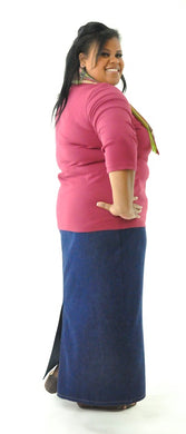 Long Jean Skirt for Womens Plus Sizes by Dressing For His Glory Our Long Jean Skirt is always in style and you will love the fit! This Long Jean Skirt for Womens Plus Size has a flat front waistband and an elastic back waist. The Jean Skirt has a fly front, change pockets and a back slit. The Long Jean Skirt is great for everyday and is durable as well as comfortable.