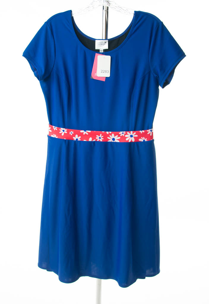 #2283 Sale Rack Item  /  Swim Dress / Petite X-Large /  Royal Blue / Daisies Trim
