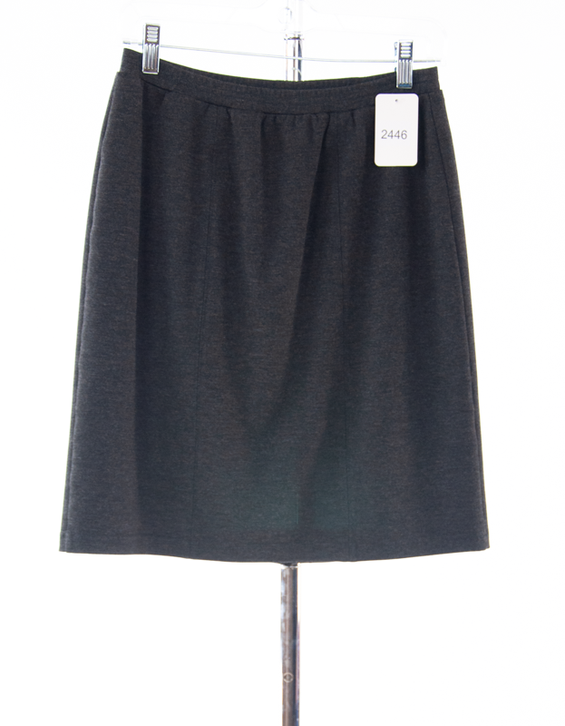 #2446 Sale Rack Item / Short Straight Knit Skirt / Junior Medium / Heather Grey