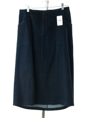#2465 Sale Rack Item / Long Corneado Skirt / Womens 16 / Dark Denim Stretch