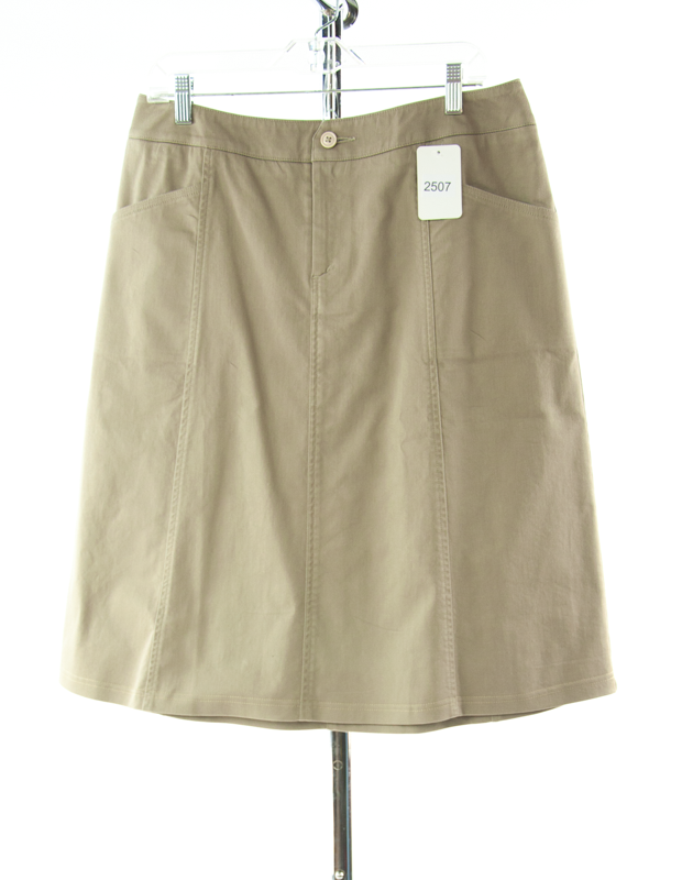 #2507 Sale Rack Item / Short Corneado Skirt / Misses Size 14 / Khaki Stretch
