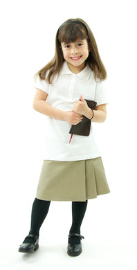 The School Uniform Skirt for Girls sizes by Dressing For His Glory has two off centered pleats in the front and back. It has a single button front closure with a small pocket. The skirt has a flat front waistband and you will love the back adjustable elastic waist. The skirt is comfortable extremely durable, stain resistant, and great looking the entire school year!