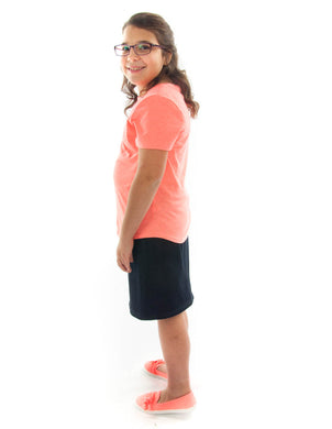 Short Jean Skirt for Girls Plus Size by Dressing For His Glory  Short Jean skirts are always in style! You will love our short Jean skirt for its adjustable waistband for girls. It will adjust to fit them perfectly! It has a front fly zipper opening, change pockets and does not have a back slit. It is a great everyday skirt that is durable and comfortable. And it has been pre washed.