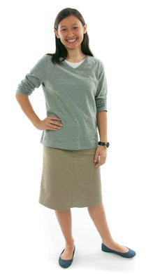 Short Jean Skirt for Junior Sizes by Dressing For His Glory The Short Jean Skirt is always in style and you will love our It! Our Skirt Jean Skirt has a contour waistband that is designed for girls who like to wear their waistbands lower towards their hips. Our Short Jean Skirt has a front fly zipper opening, change pockets and does not have a back slit. It is great for everyday and is durable as well as comfortable. And it has been pre-washed so you won't have to worry about shrinkage!
