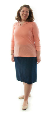 Short Jean Skirt for Womens Plus Sizes by Dressing For His Glory Our Short Jean Skirt is always in style and you will love our it! The skirt has a flat waistband in the front and an elastic waistband in the back.  Our jean skirt has a front fly zipper opening, change pockets and does not have a back slit. The Short Jean Skirt is great for everyday and is durable as well as comfortable. And it has been pre-washed so you won't have to worry about shrinkage.