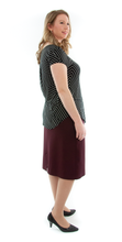 Load image into Gallery viewer, Short Straight Knit Skirt in Ladies Sizes by Dressing For His Glory  This is going to be the best knit skirt you will ever own! Enjoy the flattery of our pull on skirt in perfect Ponte fabric! You are going to love the feel and comfort of our New Short Straight Knit Skirt. It is made of a beautiful double knit fabric that is soft with substantial  body to keep its shape. It is great for fall, winter and even spring time weather.