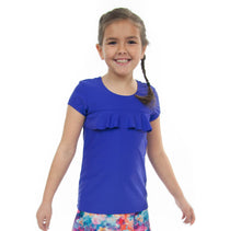 Load image into Gallery viewer, Swim Tee for Girls by Dressing For His Glory  Our Swim Tees are made in top quality, fast drying swimwear knit fabric. The fabric is chlorine resistant, cool and comfortable. The swim tee is fully lined and helps to prevent clinging. It has a scooped neck and a choice of a cap sleeves or a longer length sleeve. It also has a beautiful ruffle across the yoke.