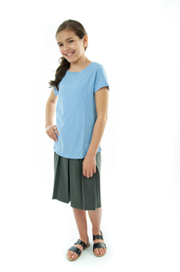 Traditional Culotte For Girls Plus Size by Dressing For His Glory  The Traditional Culotte has a bit more dressier look than any of our other culotte. It has pleats all around a drop yoke making it look like a skirt. It has an elastic waist and is very comfortable.