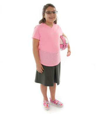 The Two Pleater Culotte for Girls Plus Size by Dressing For His Glory is the most popular culotte that customers purchase for school activities. It has one pleat in the center front and one in the back. It has an elastic waist and is extremely comfortable!