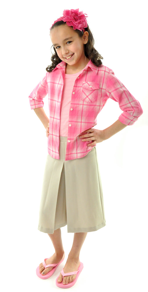 Two Pleater Culotte for Girls Sizes by Dressing For His Glory is the most popular culotte that customers purchase for school activities. It has one pleat in the center front and one in the back. It has an elastic waist and is extremely comfortable!