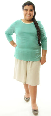 Walking Culotte for Girls Plus Sizes by Dressing For His Glory The Walking Culotte is a straight cut culotte.  It has an elastic waistband and slit pockets. The culotte is extremely durable as well as comfortable. Perfect for hiking, bike riding, soccer games or just about any activity you have in mind!