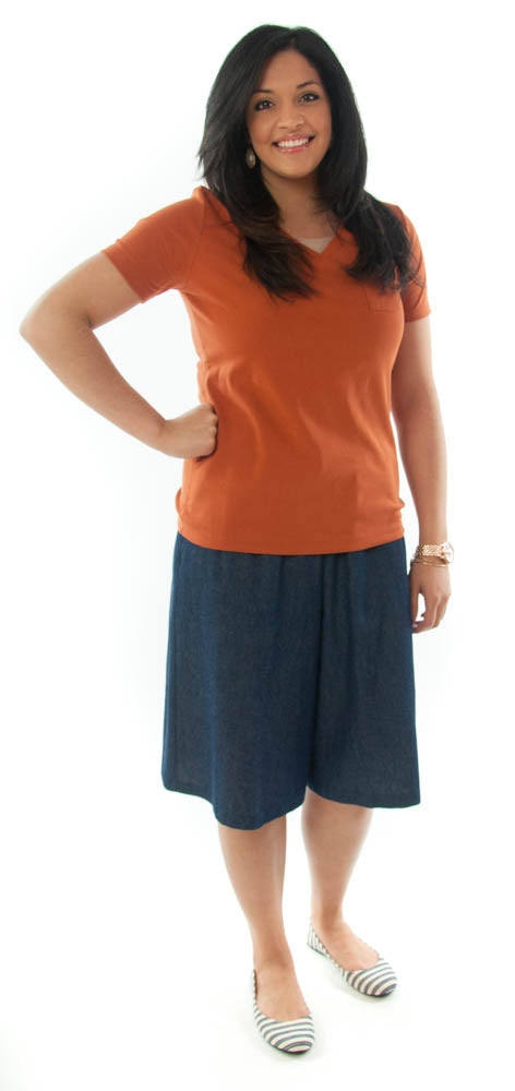 Walking Culotte for Ladies Sizes by Dressing For His Glory The Walking Culotte is a straight cut culotte.  It has an elastic waistband and slit pockets. The culotte is extremely durable as well as comfortable. Perfect for hiking, bike riding, soccer games or just about any activity you have in mind!