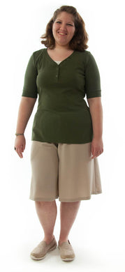 Walking Culotte for Womens Plus Sizes by Dressing For His Glory The Walking Culotte is a straight cut culotte.  It has an elastic waistband and slit pockets. The culotte is extremely durable as well as comfortable. Perfect for hiking, bike riding, soccer games or just about any activity you have in mind!