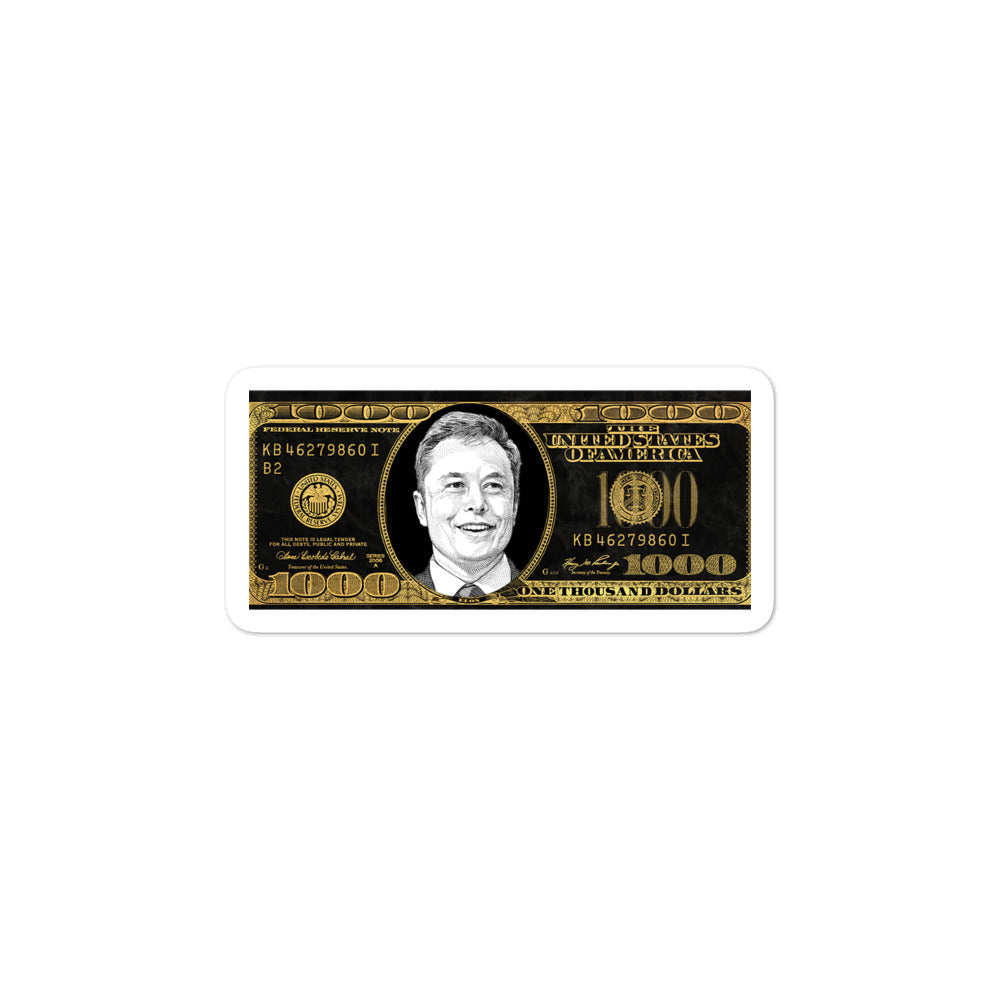 Elon 1,000 Dollar Bill Stickers