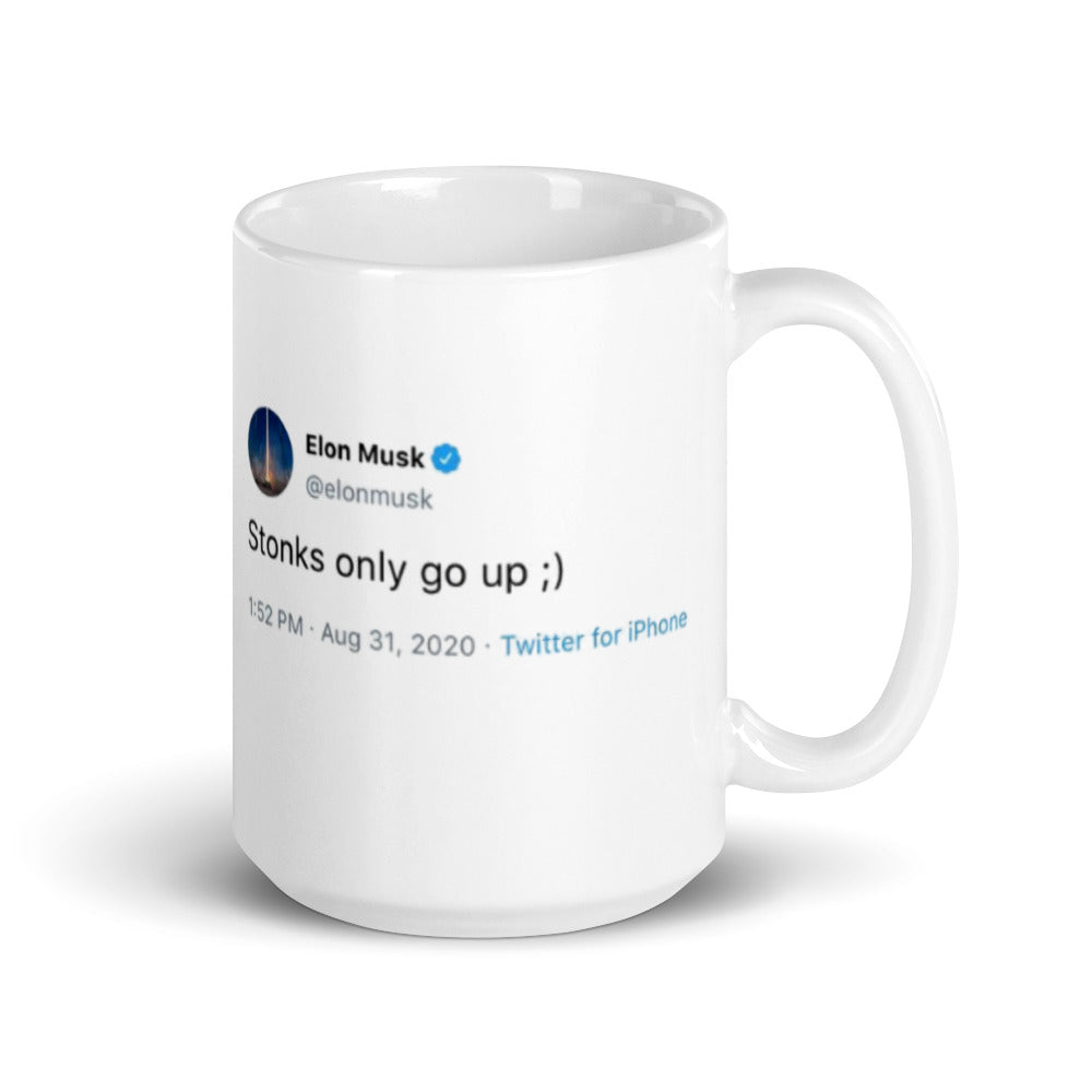 Elon Stonks Only Go Up Tweet Mug (Limited Edition)