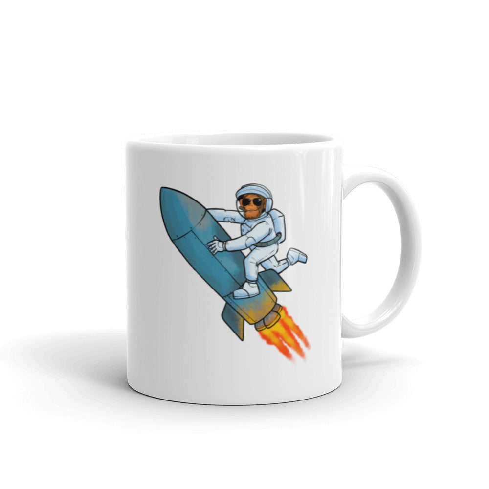 Apes to the Moon Rocket Mug
