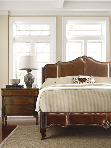 Troy Collection - Sophisticated Rich Leather Sleigh bed with nail head trim