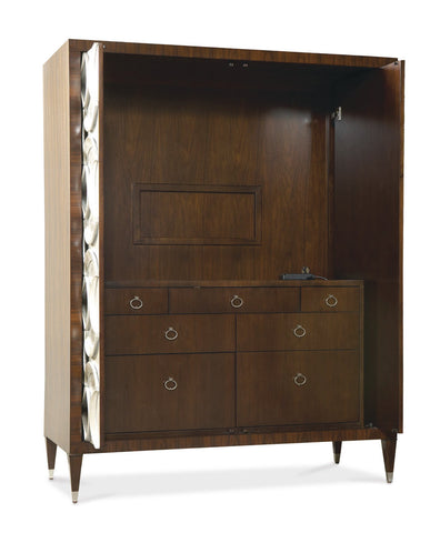 Armoire Beautifully finished Mahogany with Silver Accent Ribbon Finish