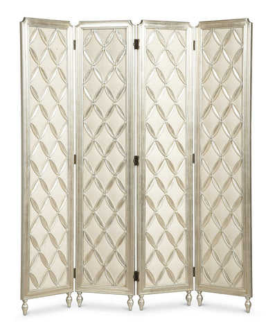 Beautiful Four Panel Screen Silver Trellis highlights for Privacy or Decoration with Crystal bling