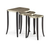 Side Tables nesting with sharp architectural detail... Satin Ebony legs w Taupe Silver top accent... Delightful