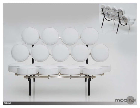 Beautiful White Leather Italian Sofa