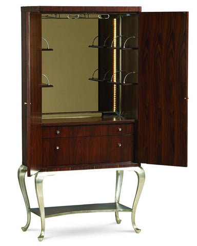 Wine storage cabinet or beverage center made from Rich Rosewood and Zebrawood with glamour silvery molding detail