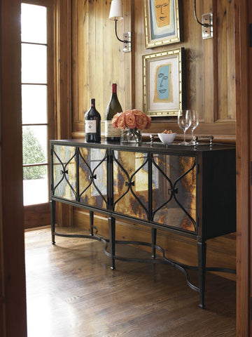 Gorgeous unique Console, mirrored door Smokey Amaretto finish from Italy