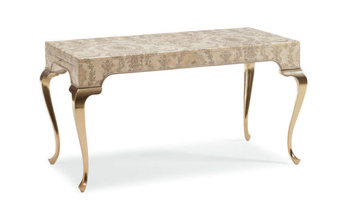 French Vanity table with Toile de joye finish with brushed warm silver leaf finish cabriole legs