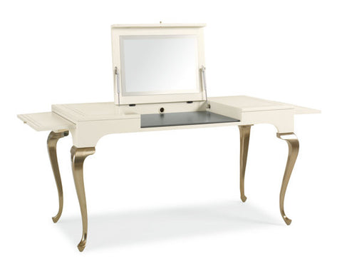 French Vanity table with brushed silver finish cabriole legs