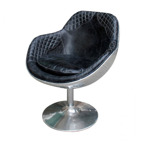 Aged ebony black leather chair, single post aluminum frame base...