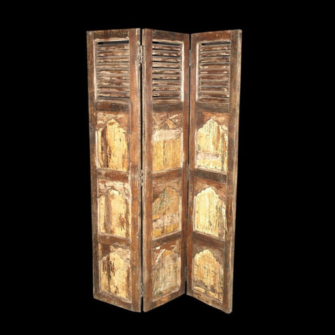 Hand-crafted artisan aged 3 panel wood screen