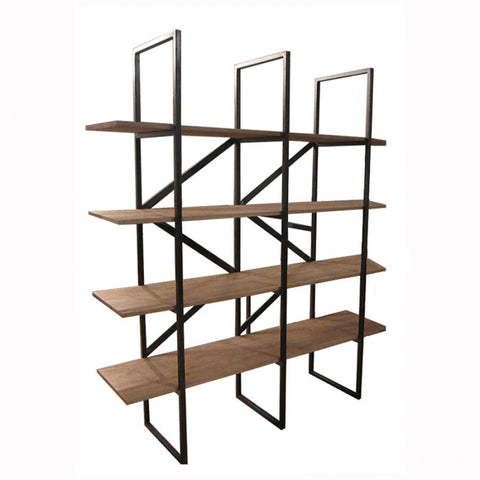 Architectural vision... Shelving unit with solid wood shelves and black iron frame