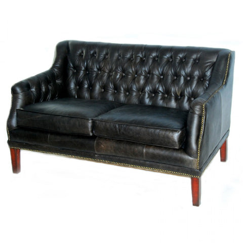 Loveseat top grain leather in mountain black