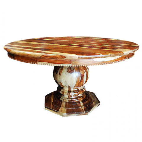 Elegant detail crafted round pedestal dining table