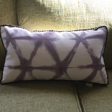 Load image into Gallery viewer, Shibori Style Cushion - Rectangle with border in black braid