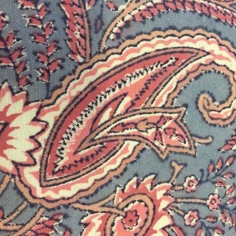 Indian woodblock print pink and blue Bev's remnant House fabric