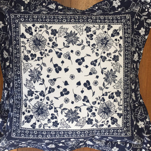 Navy and White floral cushion